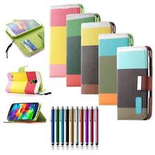 Hybrid PU Leather Flip Wallet Case Cover Stand For Samsung Galaxy S V S5 i9600