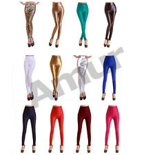 Womens High Waist Leather Leggings Jeggings Skinny Stretchy Trousers