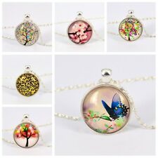 Tree Flower Animals Pattern Glass Cabochon Image Pendant Silver Plated Necklace