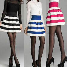 Womens Scalloped Stripes Skirt Sexy High Waist Cute Short Skater Skirt