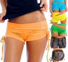 Adjustable Side Tie Booty Hot Short Yoga Dance Pole Fitness Cheer Cotton Mix AHS
