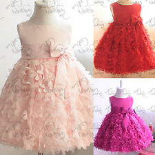 Toddlers Kids Girls Pettiskirt Party Dress Flower Clusters Bow Fluffy Skirt 1-6Y