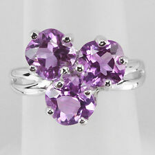 Natural Purple Amethyst 925 Sterling Silver Three Stone Ring Size #8, #9 (r356)
