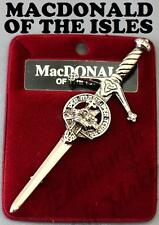 MACDONALD OF THE ISLES CLAN CREST KILT PIN 130 CLAN NAMES AVAILABLE