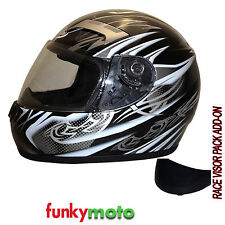 3GO VIPER E35 HELMET BLACK SILVER FULL FACE MOTORCYCLE SCOOTER CHEAP VISOR ADDON