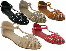 WOMEN DIAMONTY BUCKLE GLADIATOR FLAT SUMMER SANDAL LADIES OPEN TOE BEACH UK SHOE