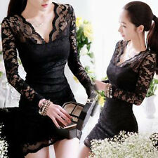 New Women Sexy Long Sleeve Evening Party Cocktail Ball Lace Mini Dress
