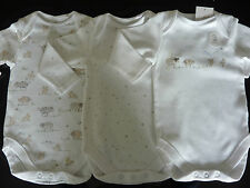 NEXT Really Cute White Farmyard 3 Long Sleeve Bodysuits / Vests NEW in Pack