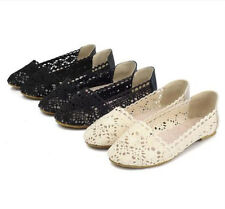 New 2014 Womens Ballet Flats Loafers Floral Lace Slip-on Shoes Low Heels