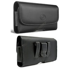 Leather Horizontal Sideways Belt Clip Case Pouch Holster for Samsung Cell Phones