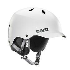 Bern Watts EPS Snow Helmet Satin White w/ Black Knit Mens