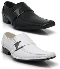 Men Leather Dress Shoes Formal Wedding Prom Slip On Buckle White Black Tony