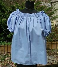 Pirate Wench Gypsy Renaissance Blouse Chemise Short Sleeve Periwinkle Blue