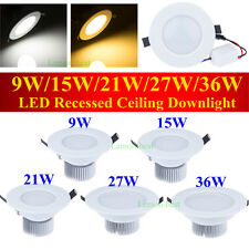 Dimmable 9W 15W 21W 27W 36W LED Downlight kit Recessed Ceiling Lamp Bulb +Driver