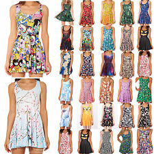 Sexy Womens 3D Graphic Printed Cartoon Animate Chic Skater Two-Way Singlet Dress