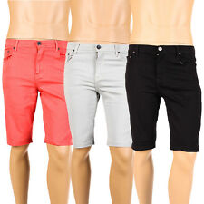 Mens Skinny Denim Shorts Stretch Jeans Solid Color Basic Slim Fit Taper Fashion