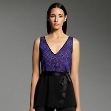 NARCISO RODRIGUEZ for DESIGNATION Womens Sheer Georgette TOP Black Colorblock
