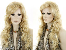 27 Long Slightly Wavy Curly Blonde Brunette Red Grey Wigs Side Swept Bangs