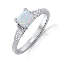 Princess / Quadrillion Cut Moon White Fire Opal Sterling Silver Ring Size 3 - 12
