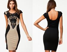 Sexy Women Lace Short Sleeve Slim Back Bodycon Cocktail Evening Pencil Dress