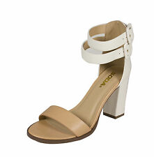 Isa! Soda Open Toe Ankle Velcro Strap Heel Pumps Natural White Leatherette