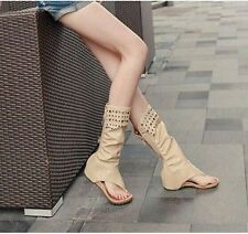 Low Heels Leather Gladiator Women's Roman Thongs Sandals Knee High Lace Up Boots