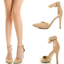 Natural Nude Pointy Toe Buckle Ankle Strap High Stiletto Heel Womens Pump Sandal