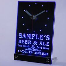 tncqs-tm Personalized Custom Cold Beer & Ale Vintage Bar Neon Led Table Clock