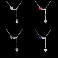 Wholesale 925Sterling Silver Lady with zircon Heart Pendant Necklace Colors N520