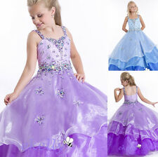 Purple/Blue Organza Prom Party Ball Gown Flower Girl Dance Bridesmaid Dress 3-12