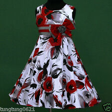 UsaG w028 a6 Grey Black Red White Birthday X'mas Dance Party Girls Dress 2,3-12y