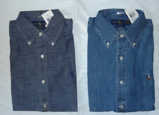NWT New Polo Ralph Lauren DENIM BLUE CUSTOM FIT Buttondown Shirt S M L XL XXL