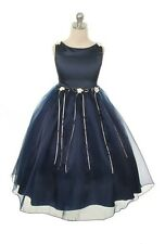 Flower Girls Navy Blue Dress Sz 2-14 Fancy Easter Christmas Party Wedding Prom