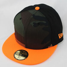 NEW ERA 59FIFTY TRITONE CAMO NEON ORANGE HORA WOOD BLACK FLAT PEAK FITTED CAP