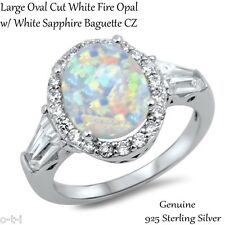 Large Oval Cut White Fire Opal White Sapphire Sterling Silver Ring Size 3 - 12