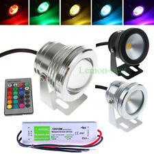 10W LED Underwater Light RGB Warm Cool White Waterproof Pond Spot Lamp + Adapter