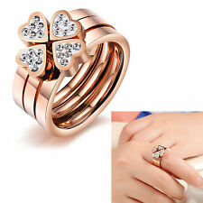 Lady Charming Rose Gold Four Leaf Clover Drill assembling Ring Stainless steel
