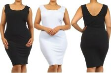 PLUS SIZE BLACK WHITE HOURGLASS SILHOUETTE BODYCON STRETCHY MIDI DRESS 1X 2X 3X