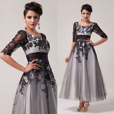 Lady Tulle Applique Formal Evening Bridesmaid Wedding Party Ball Long Dress Gown
