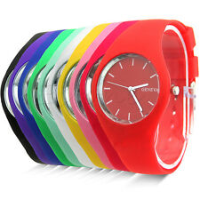 Fashion Super Soft Geneva Womens Jelly Silicone Sports Watch Students Watch 2014