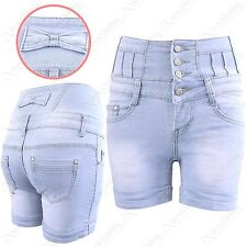 WOMEN LADIES LIGHT BLUE BOW BACK HIGH WAIST SHORTS STRETCH DENIM HOT PANTS JEANS