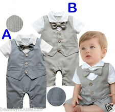 Baby Boy Bow Tie Outfit Set Bodysuit Christening Wedding Birthday Anniversary