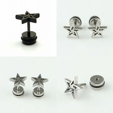 1Pair Stainless Steel Punk Rock Star Mens Stud Earrings Black Silver