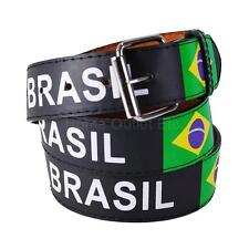 Brasil Printed Leather Belt Brazil National Flag Ensign Ordem E Progresso Soccer