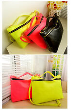 Women Simple Fresh Style Fluorescent Candy Colors Tote Shoulder Messenger Bag CA