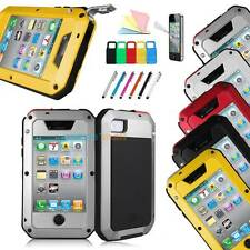 Shock/Dust Aluminum Metal Case Gorilla Glass Cover Proof for Apple iPhone 4S 4th