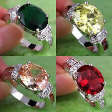Cool Emerald Quartz & Morganite & Ruby Spinel Gemstones Silver Ring Size 7 9 10