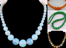 Hot Sale 6-14mm Genuine Gemstones Round Beads Jewelry Necklace 18""