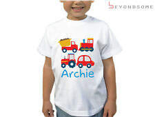 PERSONALISED BOYS TRUCK CAR TRAIN TRACTOR DESIGNER CHILDRENS KIDS T-SHIRT TSHIRT