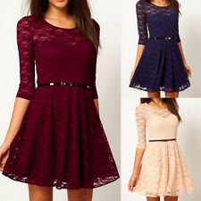 Womens Sleeve Floral Lace Sakter Spoon Neck 3/4 Mini Dress Cocktail Party